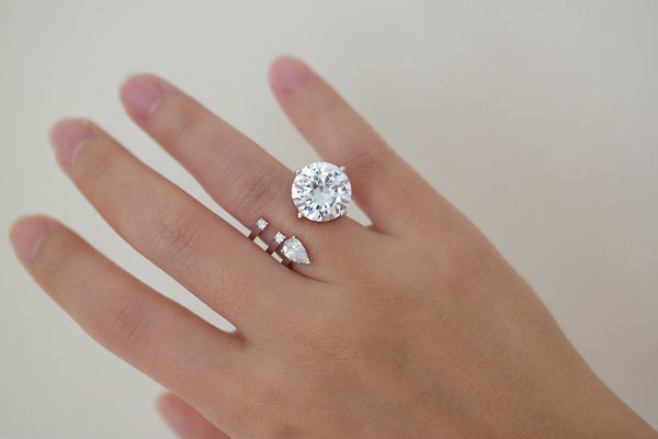 Sterling Silver Round Crystal Open Ring - SDG by Grace