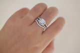 Sterling Silver Wavy Halo Setting Ring Set - SDG by Grace