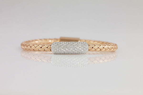 Pave Italian Braided Silver Bracelet, Rose - SDG by Grace