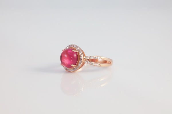 Sterling Silver Halo Setting Cabochon Ring, Rose - SDG by Grace