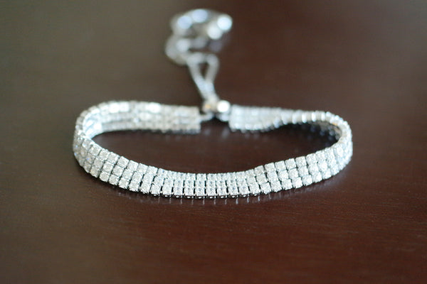 Sterling Silver Three Row Adjustable Tennis Bracelet