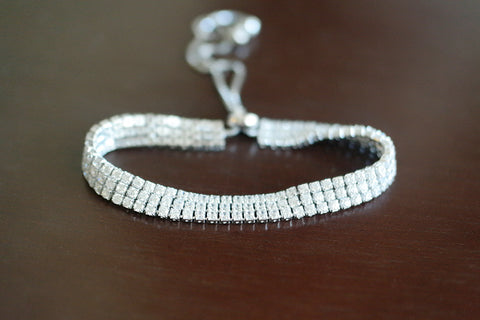 Sterling Silver Three Row Adjustable Tennis Bracelet - SDG by Grace
