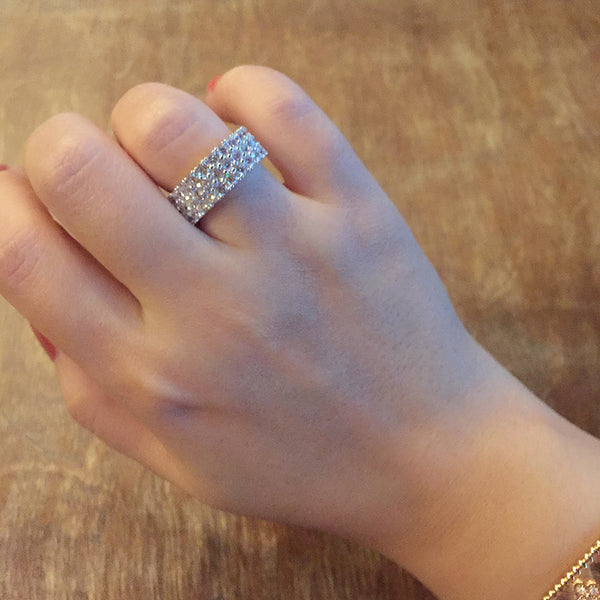 Sterling Silver Three Row Crystal Ring - SDG by Grace