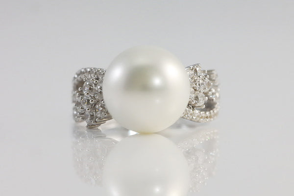 Sterling Silver Pearl and Crystal Accent Ring - SDG by Grace