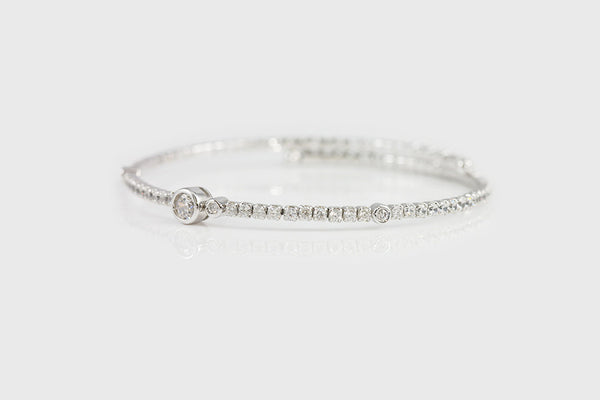 Sterling Silver Bezel Set Elastic Bracelet - SDG by Grace