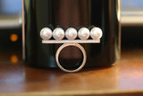 Sterling Silver Pearls on Bar Ring - SDG by Grace