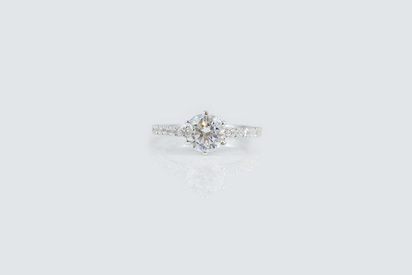 Sterling Silver Six Prong Solitaire Engagement Ring, 1.5 carat - SDG by Grace