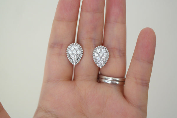 Sterling Silver Bubble Teardrop Pave Stud Earrings - SDG by Grace