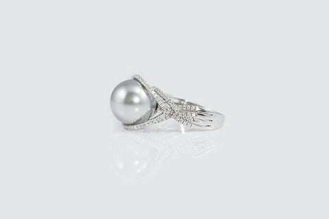 Sterling Silver Swarovski Grey Pearl Ring - SDG by Grace