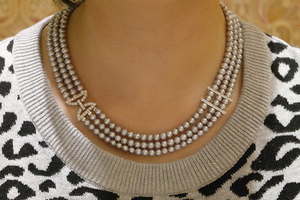 Three Strand Freshwater Pearl Necklace - SDG by Grace