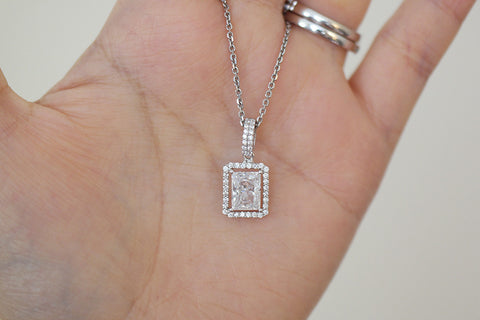Sterling Silver Radiant Cut CZ Halo Setting Necklace (3 Colors) - SDG by Grace