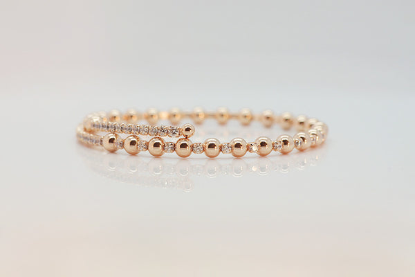 Sterling Silver Elastic Bubble Bracelet, Rose - SDG by Grace