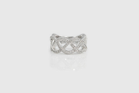 Sterling Silver Vintage Inspired Braided Pave Ring - SDG by Grace