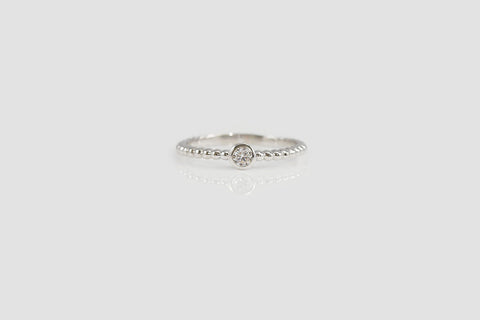 Sterling Silver Tiny Bezel Set Solitaire Bubble Ring - SDG by Grace