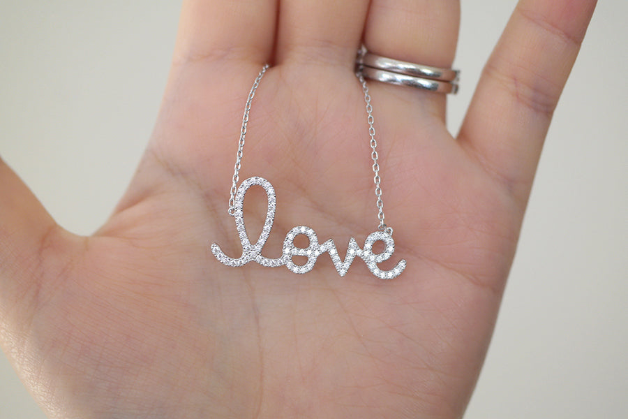Sterling Silver Love Script Necklace | SDG by Grace