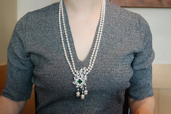 Double Stranded Pearl Necklace with Tasseled Pendant - SDG by Grace