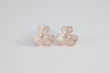 Sterling Silver Clover Stud Earrings, Rose - SDG by Grace