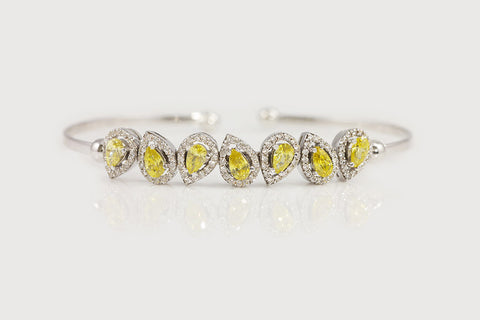 Sterling Silver Pear-Cut Yellow CZ Cuff Bracelet - SDG by Grace