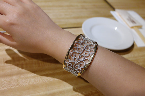 Sterling Silver Two Tone Wide Filigree Bangle - SDG by Grace