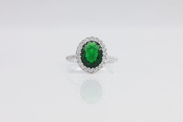 Sterling Silver Oval Halo Setting Ring, Green - SDG by Grace