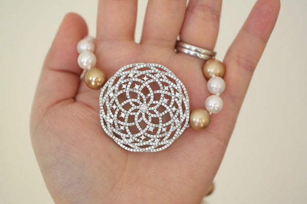Big Filigree Pendant Pearl Rope Necklace - SDG by Grace