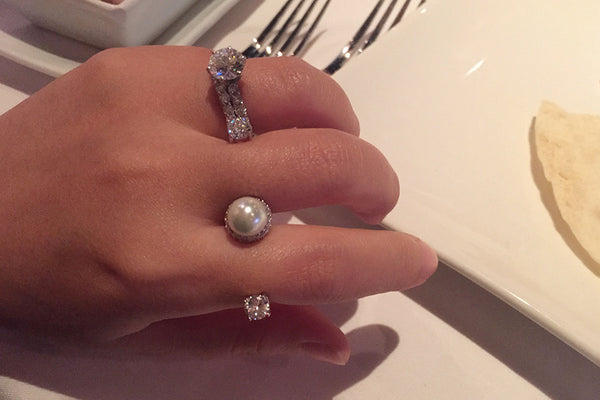 Sterling Silver Pearl and Crystal Two Finger Ring - SDG by Grace