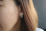 Sterling Silver Golden Butterfly Two Way Earrings - SDG by Grace