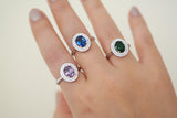 Sterling Silver Color CZ Double Halo Ring (3 Colors) - SDG by Grace