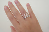 Sterling Silver Multi-row Crystal Ring, Rose - SDG by Grace