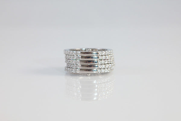 Sterling Silver Five Row Eternity Ring - SDG by Grace