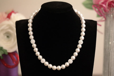 Swarovski Crystal Pave Ball and Pearl Necklace - SDG by Grace