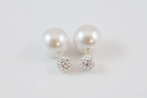 Sterling Silver Crystal Pearl Two Way Earrings - SDG by Grace