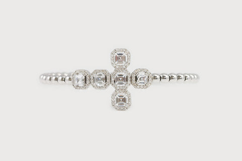Sterling Silver Beaded Bracelet with Princess Cut CZ Cross - SDG by Grace