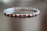 Sterling Silver Red Color CZ Stretch Tennis Bracelet - SDG by Grace