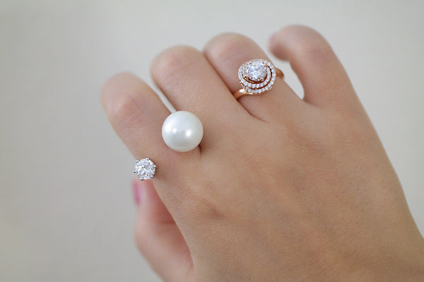 Sterling Silver Pearl and Crystal Open Ring - SDG by Grace