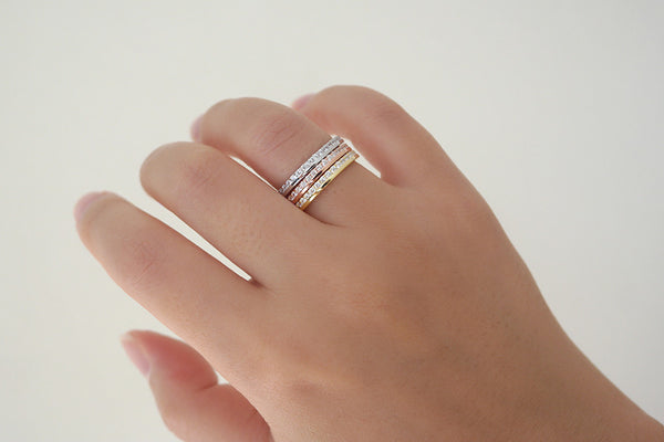 Sterling Silver Double Sided Tri-color Ring Set - SDG by Grace