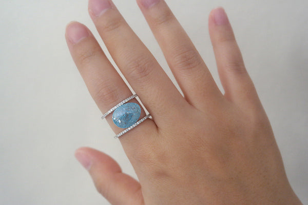 Sterling Silver Blue Zircon Two Line Ring - SDG by Grace
