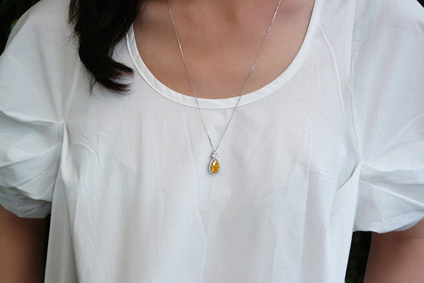 Sterling Silver Citrine Yellow Teardrop Necklace - SDG by Grace