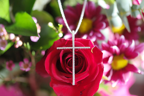Sterling Silver Big Slim Cross Necklace