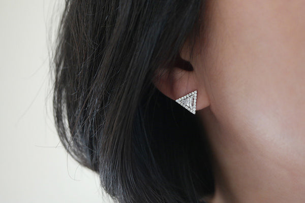 Sterling Silver Triangle Stud Earrings (3 Colors) - SDG by Grace