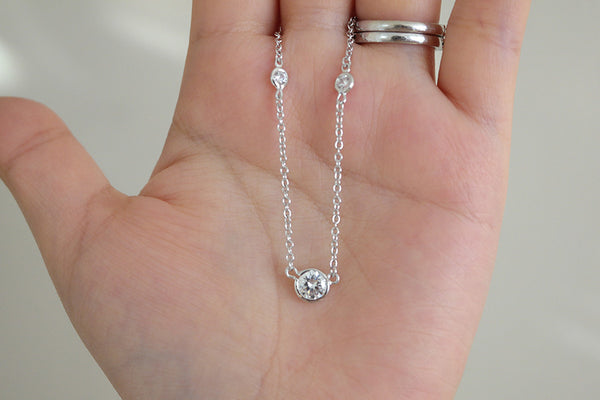 Sterling Silver Bezel Set Solitaire Necklace - SDG by Grace