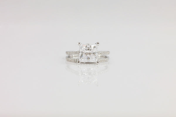 Sterling Silver Princess Cut Ring Set, 2 Carat - SDG by Grace