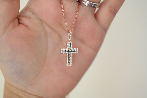 Sterling Silver Champagne CZ Cross Necklace - SDG by Grace