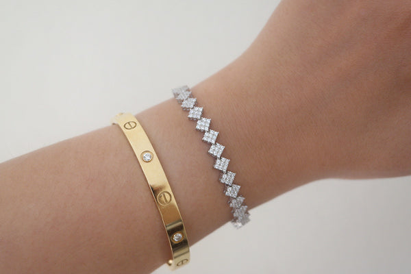Sterling Silver Diamond Shape Adjustable Bracelet - SDG by Grace
