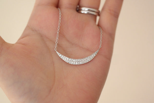 Sterling Silver Crescent Moon Necklace - SDG by Grace