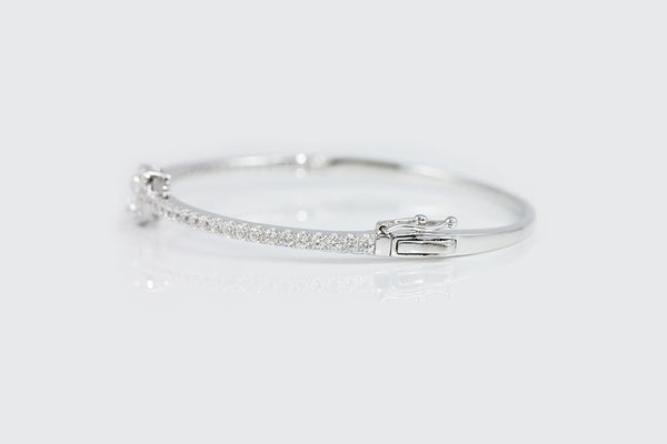 Sterling Silver Marquise Crystal Skinny Bangle - SDG by Grace
