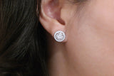 Sterling Silver Luxury Round Stud Earrings, White - SDG by Grace