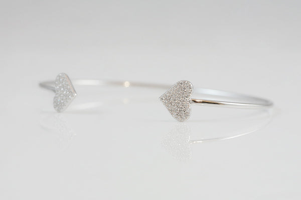 Sterling Silver Two Heart Open Bangle - SDG by Grace