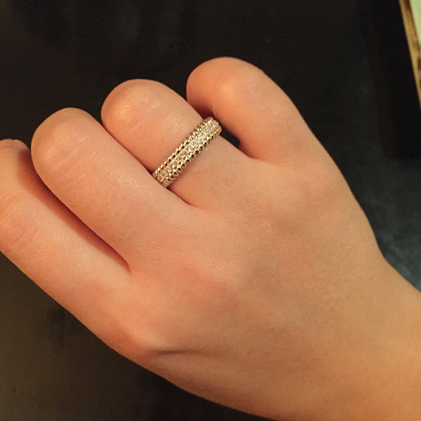 Sterling Silver Rope Pave Ring - SDG by Grace