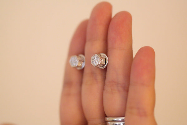 Sterling Silver Beehive Pave Stud Earrings - SDG by Grace
